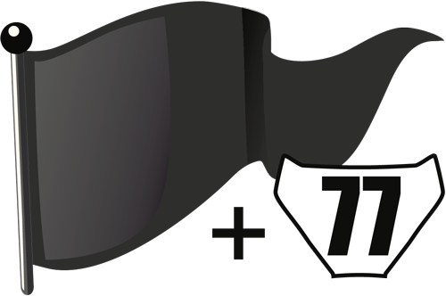 Schwarze Flagge in Verbindung mit Start-Nr. auf Signaltafel