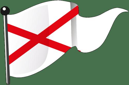 Weiße Flagge mit diagonalem rotem Kreuz (gehalten)